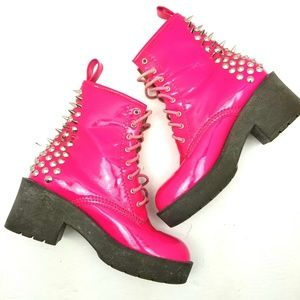 Jeffrey Campbell 8th Street Pink Spiked Boots